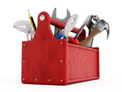 Red toolbox full of hand tools Stock Illustration