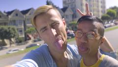 Cute Gay Couple Take Funny Selfies Together In Front Of Painted Ladies Stock Footage