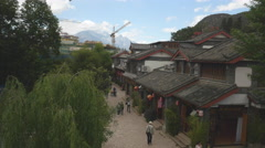 A Street Aerial View Of Lijiang Old Town Yunnan Province China Stock Footage