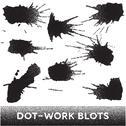 Stock Illustration of Set of black ink dotwork blots