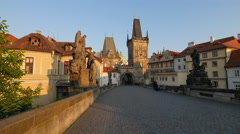 View of Lesser Town Bridge Tower at sunset in Prague - stock footage