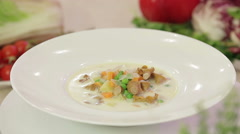 Mushroom soup with vegetables Stock Footage