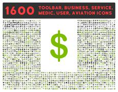 Dollar Icon with Large Pictogram Collection - stock illustration