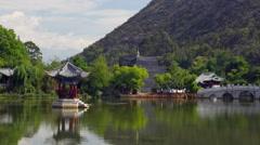 Pavilion At Black Dragon Pool Lijiang China Stock Footage