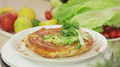 Onion pie with bacon on a kitchen board Stock Footage