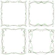 Stock Illustration of set of four decorative multilayer frameworks