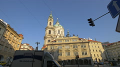 View of the beautiful Saint Nicholas Church in Prague Stock Footage