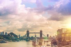 London River Thames Panorama - stock photo