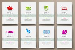 Corporate identity vector templates set with doodles cinema theme Piirros