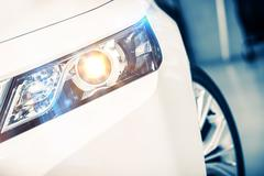 Modern Car Lens Headlights. Stock Photos