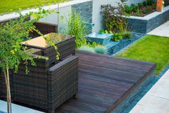 Modern Garden Design. Wood and Stone. - stock photo