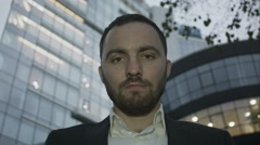 Severe look of bearded business man Stock Footage