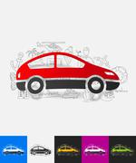 Car paper sticker with hand drawn elements Stock Illustration