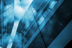 Modern Glass and Metal Architecture Concept Photo. - stock photo