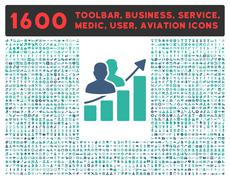Stock Illustration of Audience Growth Icon with Large Pictogram Collection