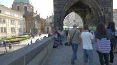 Playing the violin and the accordion near the Old Town Bridge Tower, Prague Arkistovideo