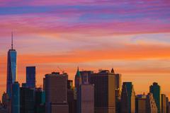 New York Sunset Scenery. Skyline New York City Manhattan - stock photo