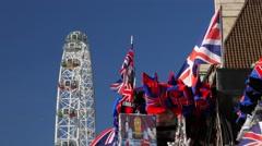 Souvenir Union Jacks and London  Eye Stock Footage