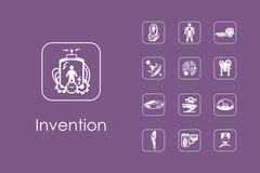 Set of invention simple icons - stock illustration