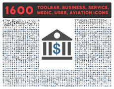 Bank Icon with Large Pictogram Collection - stock illustration