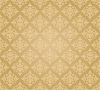 Golden seamless floral damask wallpaper - stock illustration