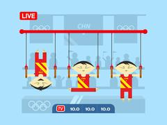 Stock Illustration of Chinese gymnasts on rings