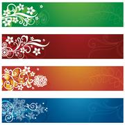 Set of four seasonal flowers and snowflakes banners - stock illustration