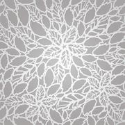 Seamless silver leaves and flowers lace wallpaper pattern - stock illustration