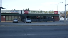 End Zone Pub on Stadium Road and 112 ave in Edmonton, Alberta. Stock Footage