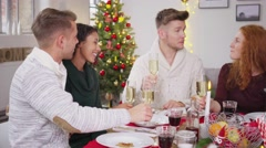 Friends toasting with champagne while having choristers dinner 4k Stock Footage
