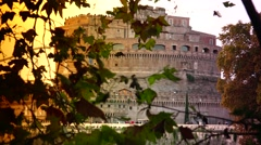 Stock Video Footage of ULTRA HD 4K real time shot,The Rome Skyline Italy, Castel Sant'Angelo