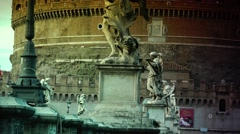 ULTRA HD 4K real time shot,The Rome Skyline Italy, Castel Sant'Angelo - stock footage
