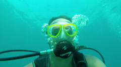 Underwater Scuba Diver Self Portrait Stock Footage