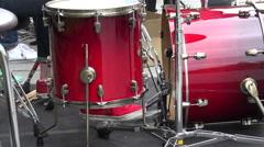 Closeup of street musician drummer legs working. 4K Stock Footage