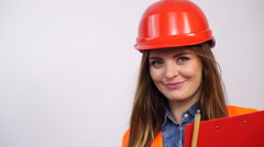 Woman structural engineer in helmet. 4K Stock Footage