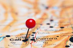 Cali pinned on a map of America - stock photo
