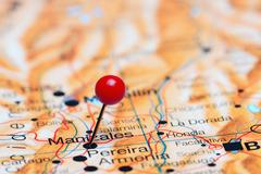 Manizales pinned on a map of America - stock photo