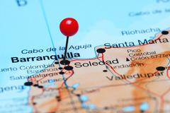 Barranquilla pinned on a map of America - stock photo