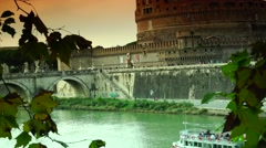 ULTRA HD 4K real time shot,The Rome Skyline Italy, Castel Sant'Angelo Stock Footage