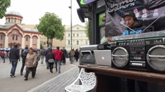 Dj play house progressive music in street. 4K Stock Footage