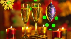 Two Flutes with Sparkling Champagne with New Year decoration Stock Footage