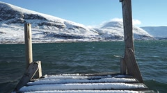 Windy Arctic Lake Dock in Sweden - stock footage
