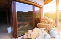 Unfinished eco house - stock photo