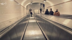Escalator in underground subway in Paris, France - 1080p Stock Footage