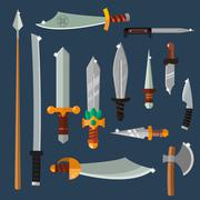 Knifes weapon vector collection - stock illustration