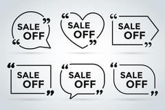 Sale Off vector tags label banner icons - stock illustration