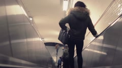 Going down the escalator in subway, Paris - Dolly shot Stock Footage