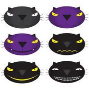 Set of funny Halloween cartoons, cute purple, cat black , vector  Illustration - stock illustration