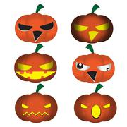 Set of funny Halloween cartoons, cute jack-o-lantern ,scary pumpkin, vector - stock illustration