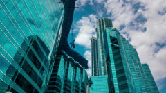 Modern building business and top sky view, clouds timelapse. Stock Footage